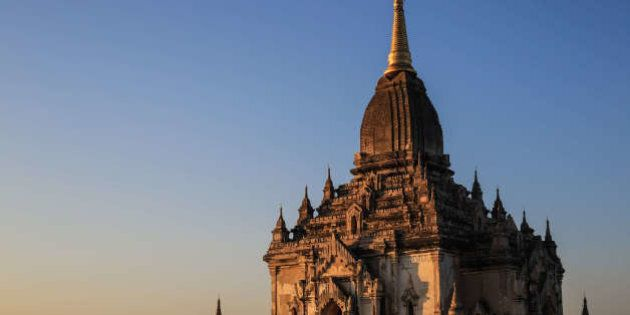 OLD BAGAN, BAGAN, MANDALAY PROVINCE, MYANMAR - 2014/12/22: A view of the Thabinnyu pagoda in the Bagan...