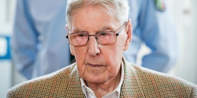 Former Auschwitz guard Reinhold Hanning is seen in court waiting for the continuation of his trial at...