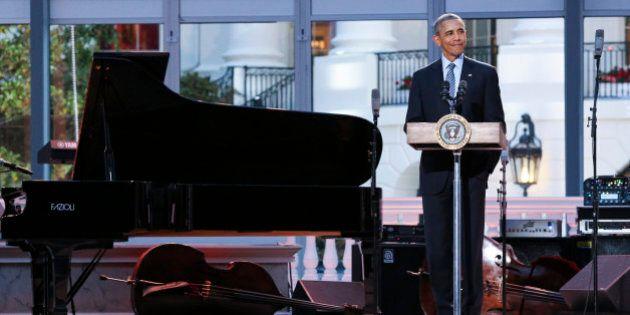 WASHINGTON, DC - APRIL 29: President Barack Obama delivers remarks at the International Jazz Day Concert...
