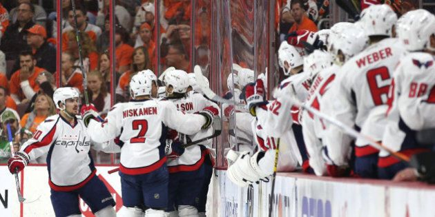 PHILADELPHIA, PA - APRIL 24: Nicklas Backstrom #19 of the Washington Capitals celebrates a goal with teammates against the Philadelphia Flyers during the second period in Game Six of the Eastern Conference Quarterfinals during the 2016 NHL Stanley Cup Playoffs at Wells Fargo Center on April 24, 2016 in Philadelphia, Pennsylvania. (Photo by Patrick Smith/Getty Images)