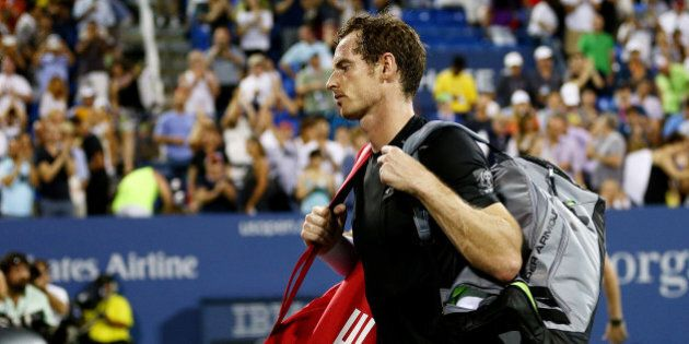 NEW YORK, NY - SEPTEMBER 07: Andy Murray of Great Britain walks off of the court after loosing to Kevin...