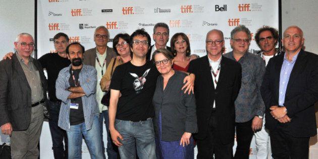 TORONTO, ON - SEPTEMBER 11: Directors Terence Davies, Gus Van Sant, Asghar Farhadi, Wayne Clarkson, Interim...