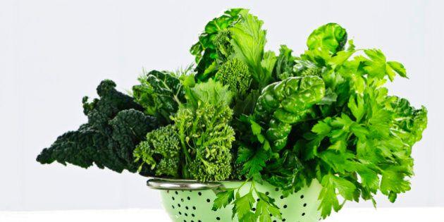 Dark green leafy vegetables in