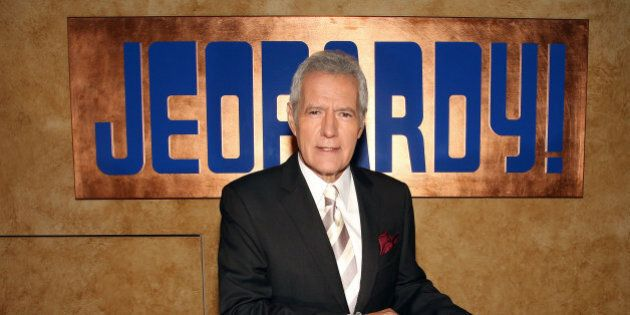 CULVER CITY, CA - SEPTEMBER 20: Host Alex Trebek poses on the set at Sony Pictures for the 28th Season...