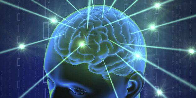 Brain in head with hi-tech cyber