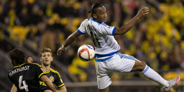 Nov 8, 2015; Columbus, OH, USA; Montreal Impact forward Didier Drogba (11) heads the ball in the second...