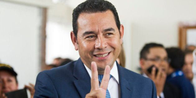 Television comedian and presidential candidate for the National Front of Convergence party Jimmy Morales...