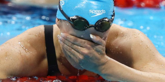 Rio Olympics - Swimming - Final - Women's 200m Butterfly Final - Olympic Aquatics Stadium - Rio de Janeiro, Brazil - 10/08/2016. Mireia Belmonte (ESP) of Spain celebrates after winning the gold medal. REUTERS/Stefan Wermuth FOR EDITORIAL USE ONLY. NOT FOR SALE FOR MARKETING OR ADVERTISING CAMPAIGNS.