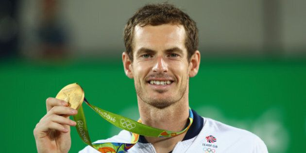 RIO DE JANEIRO, BRAZIL - AUGUST 14: Gold medalist Andy Murray of Great Britain poses on the podium during...