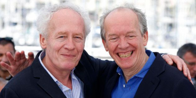 Directors Jean-Pierre Dardenne (L) and Luc Dardenne pose during a photocall for the film