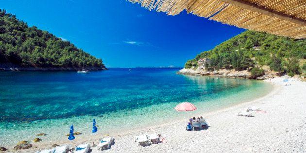 Croatia, Dalmatia, Korcula island, The beach at Pupnatska, Mediterranean area
