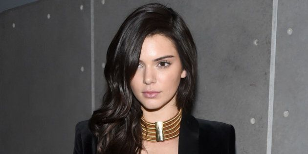 NEW YORK, NY - OCTOBER 20: Model Kendall Jenner attends the BALMAIN X H&M Collection Launch at 23 Wall...