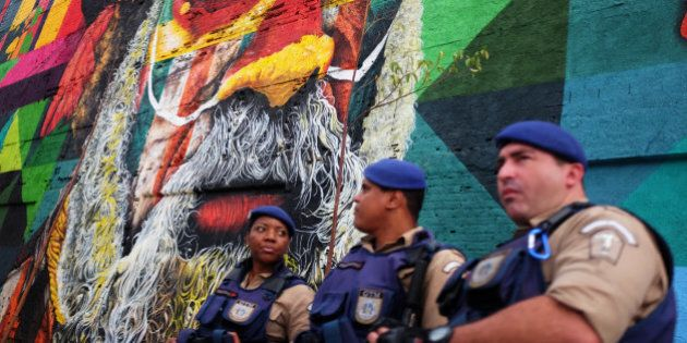 A mural by Brazilian artist Eduardo Kobra featuring the faces of indigenous people from the five continents...