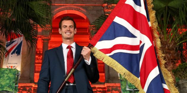 RIO DE JANEIRO, BRAZIL - AUGUST 03: Tennis player Andy Murray of Great Britain is announced as the flag...