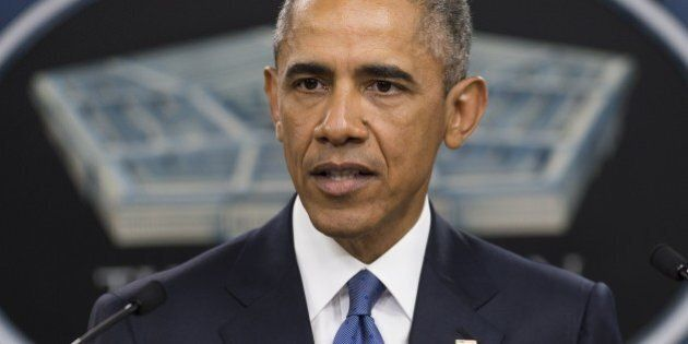 US President Barack Obama speaks following a meeting with top military officials about the military campaign...