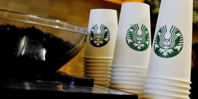 """File photo 13/8/2013 of Starbucks takeaway cups. There are """"shocking"""" amounts of sugar found in a number of hot drinks regularly bought on Britain's high streets, Action on Sugar has said."""