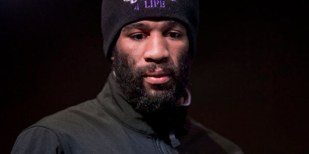 IBF junior welterweight champion Lamont Peterson stands on stage during boxing news conference, Thursday,...