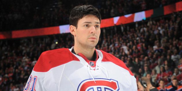EDMONTON, AB - OCTOBER 29: Carey Price #31 of the Montreal Canadiens stands for the singing of the national...