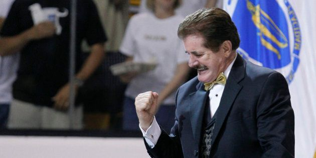National anthem singer Rene Rancourt reacts after singing the Star Spangled Banner before Game 4 of the...