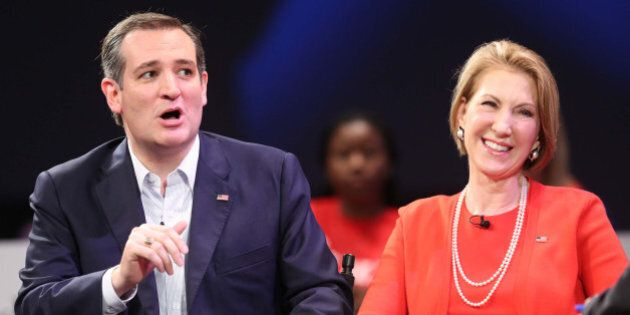 GOP presidential contender Ted Cruz and former candidate presidential Carly Fiorina respond to TV host...