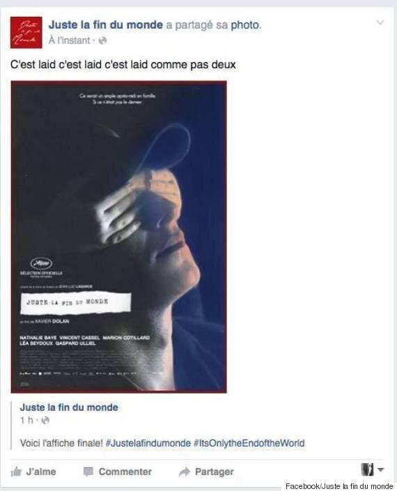 «C'est laid», dit la page Facebook du film Juste la fin du monde de Xavier