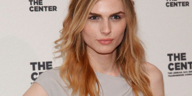 Andreja Pejic attends the 2015 Center Dinner benefit gala at Cipriani's Wall Street on Thursday, April 2, 2015, in New York. (Photo by Andy Kropa/Invision/AP)