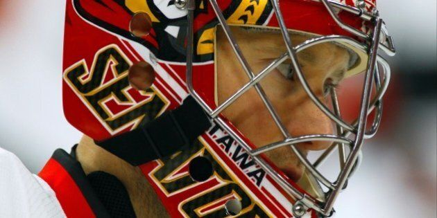 Ottawa Senators' Craig Anderson during warm-ups prior to the start of an NHL hockey game Saturday, April...