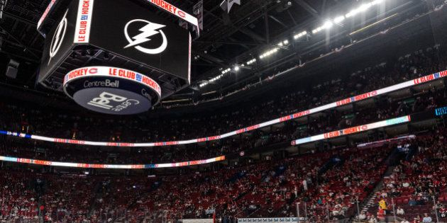 MONTREAL, QC - MAY 03:  The Tampa Bay Lightning logo is displayed on the screen prior to Game Two of the Eastern Conference Semifinals against the Montreal Canadiens during the 2015 NHL Stanley Cup Playoffs at the Bell Centre on May 3, 2015 in Montreal, Quebec, Canada. The Tampa Bay Lightning defeated the Montreal Canadiens 6-2 and take a 2-0 lead in the series. (Photo by Minas Panagiotakis/Getty Images)