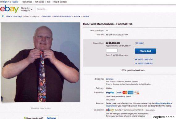L'ancien maire de Toronto Rob Ford vend «la cravate du crack» pour 1445