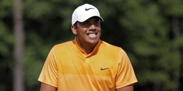 AUBURN, AL - JULY 16: Jhonattan Vegas of Venezuela reacts on the tenth green during the third round of...
