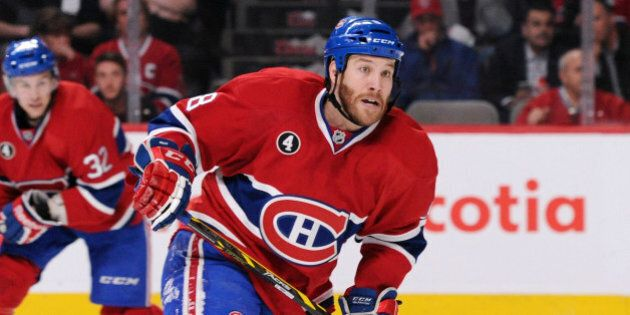 MONTREAL, QC - APRIL 15: Brandon Prust #8 of the Montreal Canadiens skates during Game One of the Eastern...