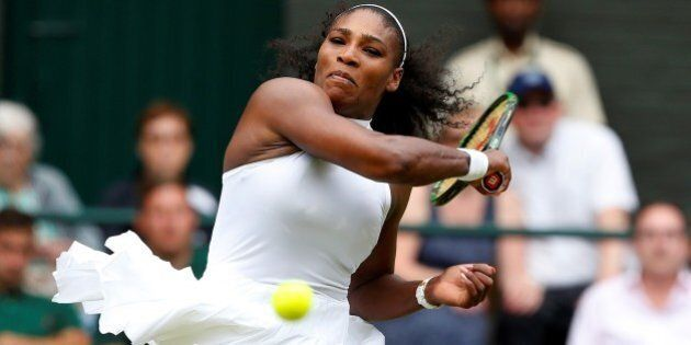 LONDON, UNITED KINGDOM - JULY 9: Serena Williams of USA in action against Angelique Kerber (not seen)...