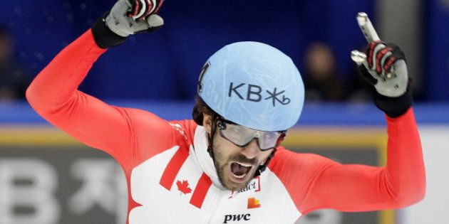 SEOUL, SOUTH KOREA - MARCH 13: Charles Hamelin of Canada celebrates in the Men 1000m Finals during the...