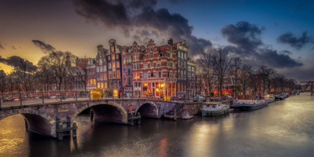 Sunset in Amsterdam at the Brouwersgracht. Just after a storm has passed, this beautiful sunset came...