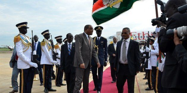 JUBA, SOUTH SUDAN - AUGUST 26: Ethiopian Prime Minister Hailemariam Desalegn is welcomed by South Sudanese...