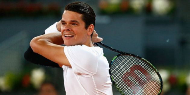 MADRID, SPAIN - MAY 07: Milos Raonic of Canada in action against Leonardo Mayer of Argentina during day...