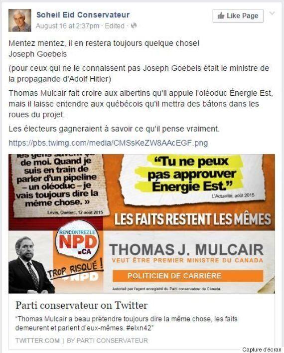 Le candidat conservateur Soheil Eid s'excuse d'avoir associé Thomas Mulcair à Joseph Goebbels sur