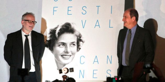 Cannes Film festival President Pierre Lescure, right, and festival director Thierry Fremaux, pose in...