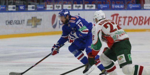 SAINT-PETERSBURG, RUSSIA - APRIL 15: Ilya Kovalchuk (17) of SKA St.-Petersburg in action with Konstantin...