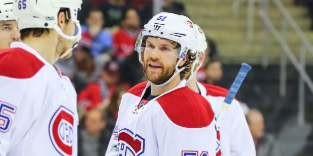 NEWARK, NJ - FEBRUARY 27: Montreal Canadiens center David Desharnais (51) during the first period of...