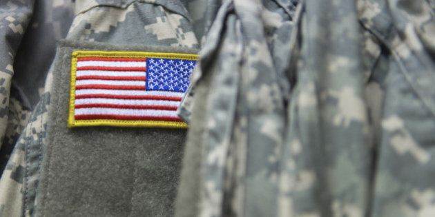 An american flag on the shoulder of the army