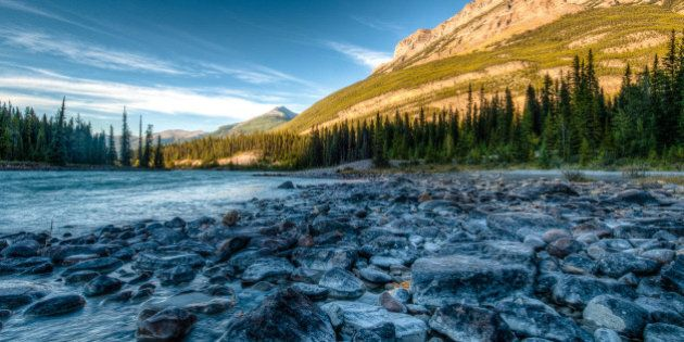 The Mount Kerkeslin Campground is located in the Rocky Mountains near the bank of the Athabasca River...
