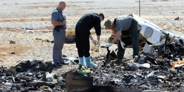 SUEZ, EGYPT - NOVEMBER 01: Russian officials inspect the crash site of Russian Airliner in Suez, Egypt...