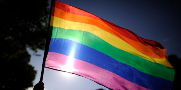 A participants holds a rainbow flag during the gay and lesbian pride parade in the center of Madrid on...