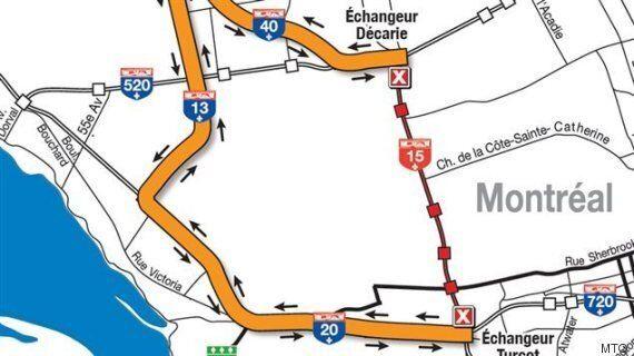 Fermeture de l'autoroute Décarie: à éviter au cours des deux prochains