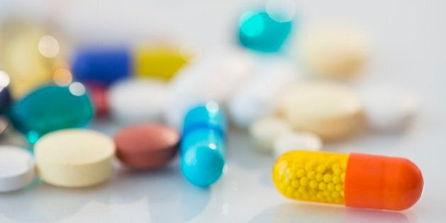 Studio shot of various pills in