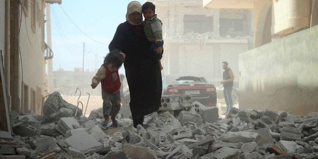 IDLIB, SYRIA - APRIL 15: Air operations by Assad's forces were destroyed buildings in the northwestern...