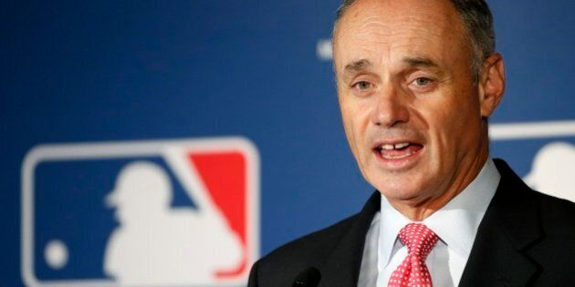 MLB Commissioner Rob Manfred talks about new rules aimed at speeding up play of baseball games among...