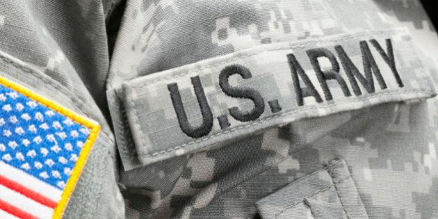 USA flag and U.S. Army patch on solder's