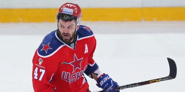 MOSCOW, RUSSIA. MARCH 24, 2016. CSKA's Alexander Radulov celebrates after scoring during Leg 2 of the...